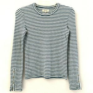 Madewell Shirt XS Crew Neck Stripe Green